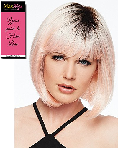 Peachy Keen Wig Color Rooted Peach - Hairdo Wigs Bob Cut Tru2Life Heat Friendly Synthetic Colored Pink Shade Straight Curly Wavy Bundle with MaxWigs Hairloss Booklet