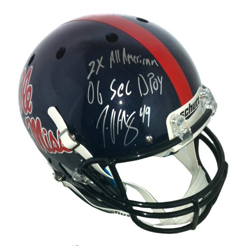 Patrick Willis Autographed/Signed Ole Miss Rebels Full Size Schutt Helmet with Career Stats Inscription