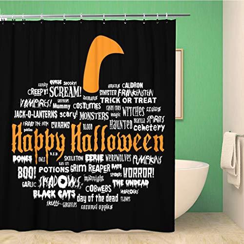 Awowee Bathroom Shower Curtain Happy Halloween Scary Words