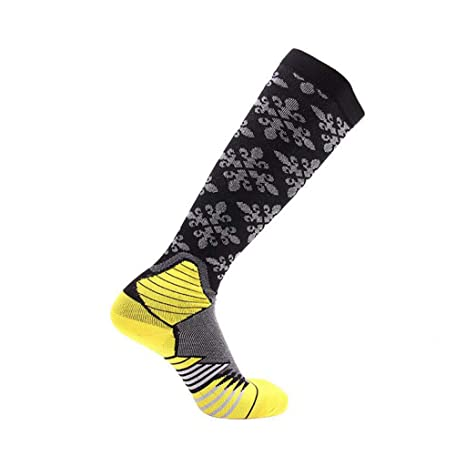 GKKXUE Medias elásticas comprimidas, Calcetines de fútbol Masculino y Femenino (Color : Amarillo,