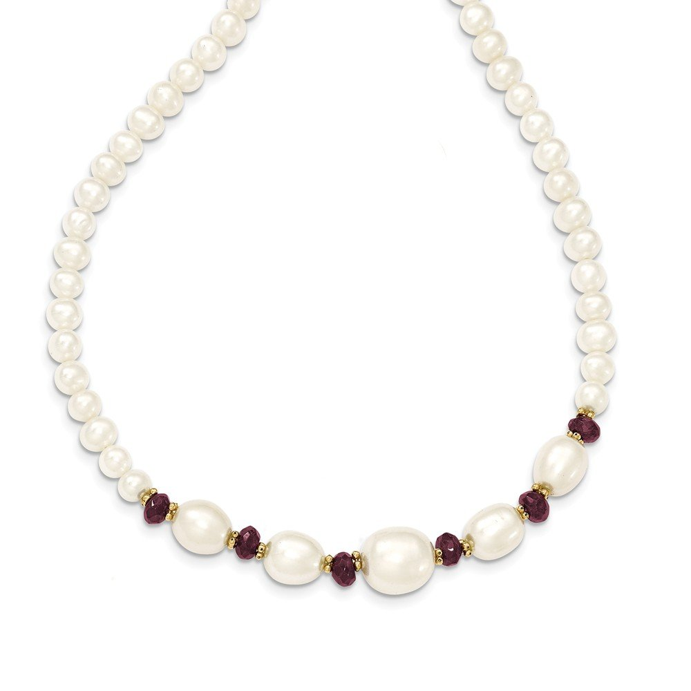 Top 10 Jewelry Gift 14K Fresh Water Cultured Pearl and Faceted Garnet Bead Necklace