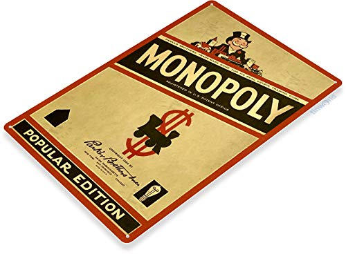 Tinworld TIN Sign C320 Monopoly Classic Retro Game Board Game Room Sign Popular Edition Red