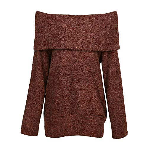 Off Shoulder Sweaters Wool Cowl Neck Long Sleeve Solid Knitted Tops Pullover Jumper