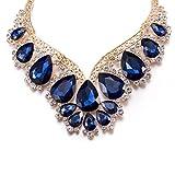 Luxury Blue Teardrop Wedding Necklace Bridal Set Party Wear Gift For Mom Women