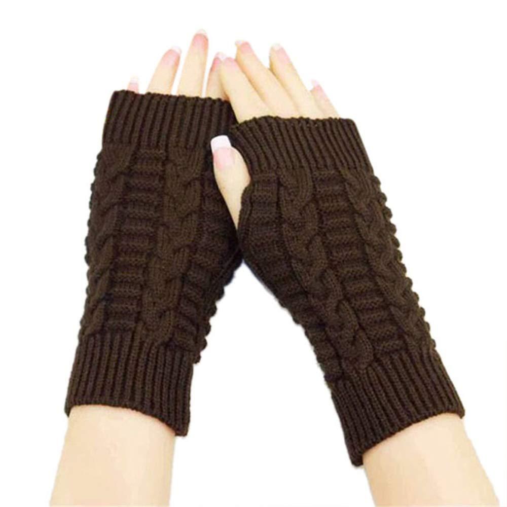Fingerless Gloves Knit Gloves, Glove Warmers Mittens Set for Winter Women Girls Wrist Warmer Arm Warmers Mittens