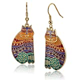 Laurel Burch Classics Collection Rainbow Cats Drop Earrings