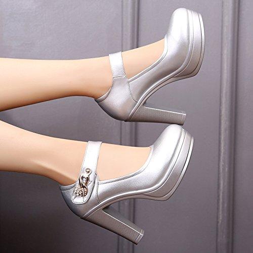 con de alto grande Alto cuero blanco zapatos mujeres de de Cabeza mujer tacón zapatos Plata de los primavera 38 gruesa 10cm solo redonda bold con zapatos TSSq70nv