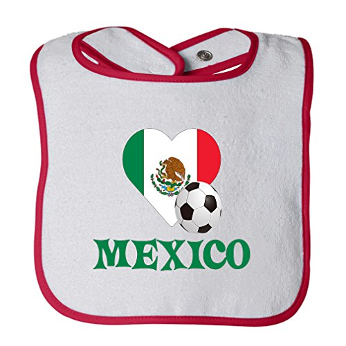 Mexican Soccer Mexico Futbol Football Cotton Terry Unisex Baby Terry Bib Contrast Trim - White Red, One Size