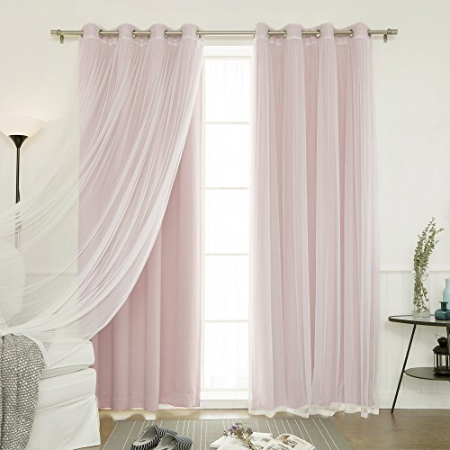 Best Home Fashion Mix & Match Tulle Sheer Lace and Blackout 4 Piece Curtain Set – Stainless Steel Nickel Grommet Top – Dustypink – 52