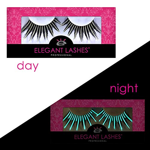 Spiky Long Glow-in-the-Dark Black & White Costume False Eyelashes for Drag Queen Halloween Dance Rave (1 pair, G201 (drag lash))]()