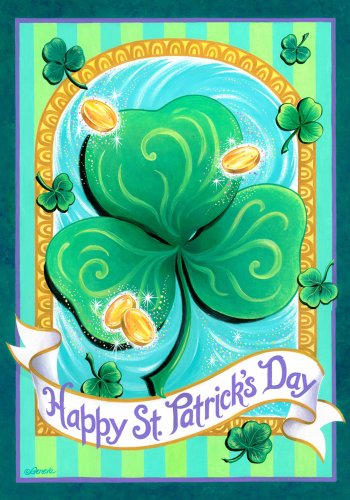 Patricks Day Clover Large Flag