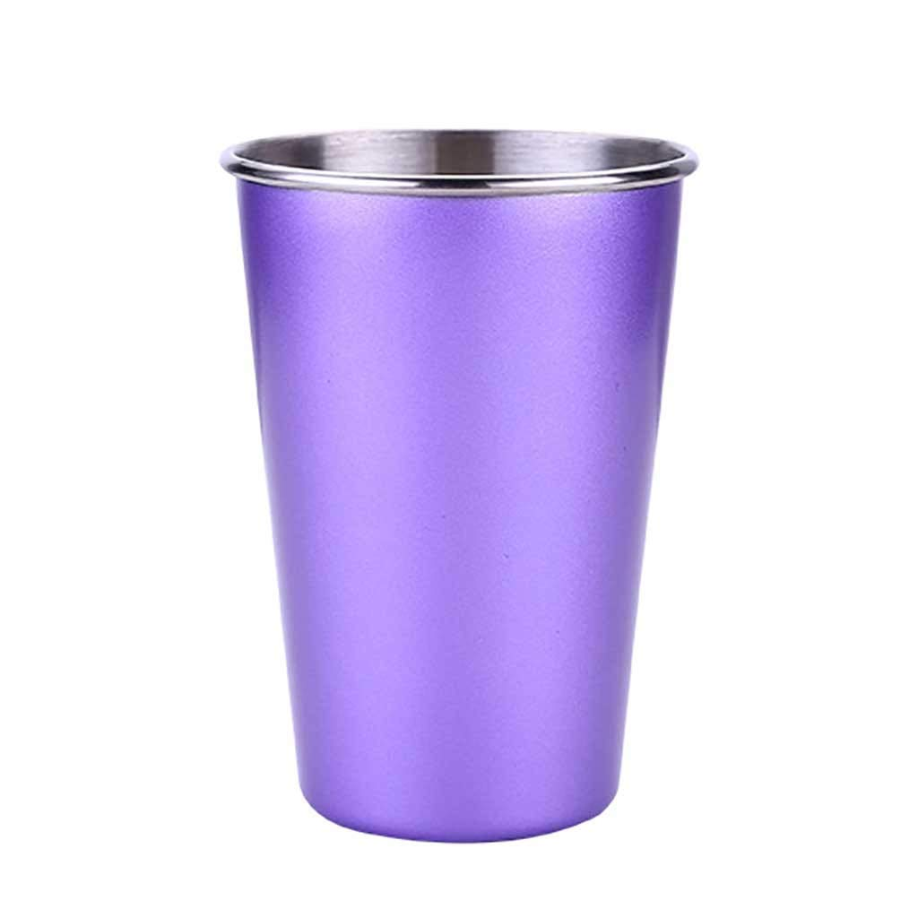 Stainless Steel Stemless Wine Glass Tumbler,lotus.flower 400ML| Travel Cup for Juice,Beer,Coffee, Wine, Cocktails, Ice Cream | Sweat Free, Unbreakable (Purple)