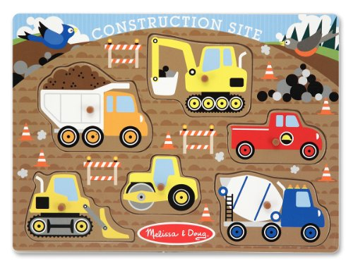 Melissa & Doug Construction Site Vehicles Wooden Peg Puzzle (6 pcs)