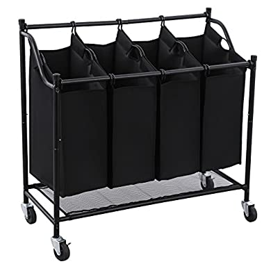 Songmics 4-Bag Rolling Laundry Sorter Cart Heavy-duty Laundry Bin Bag Hamper with 4 Casters Black URLS95H