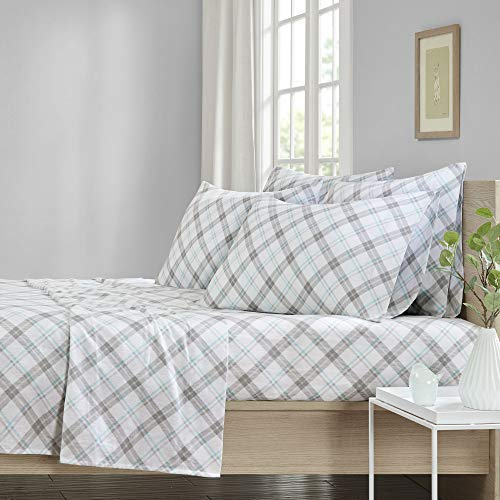 (Comfort Spaces Cotton Flannel 6 Piece Set Breathable Warm Deep Pocket Printed Plaid Pattern Sheets with Pillow Cases Bedding, King, Aqua/Gray)