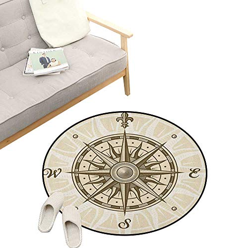 """Compass Round Rug Living Room ,Sun Motif Backdrop with Windrose Directions East West North South Navigation, Bedrooms Laundry Room Decor 23"""" inch Olive Green Beige"""