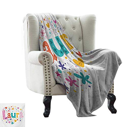 Anyangeight Laura, Throw Blanket,Baby Girl Name with Vintage Doodle Style Flowers and Stars Colorful Illustration 70