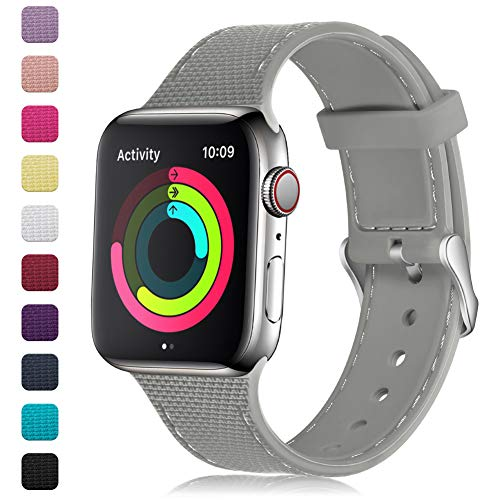 (GEAK Stylish Band Compatible with Apple Watch Band 40mm 38mm for Women Men,Soft Silicone Replacement Wristband with Stainless Steel Buckle for iWatch Series 1/2/3/4,38mm/40mm S/M Rock Gray)