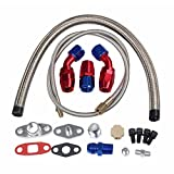 Turbo Charger Oil Drain Return Line Oil Feed Complete Kit T3 T4 T04E T60 T61 T70 Silver