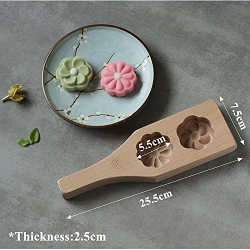 Spoons Decorating Wooden (2 Flowers Wooden Moon Cake Mold Cookies Dim Sum Mould Steamer Homemade Mooncake Pastry Decorating Tools Kitchen Accessories)