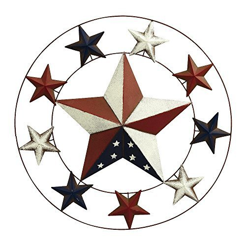 Outdoor Patriotic Wreath with 9 smaller stars circling a large star in flag colors