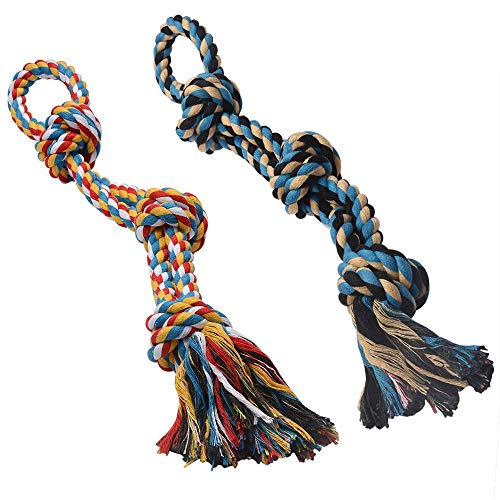 GaiusiKaisa XL Dog Rope Toys for Aggressive Chewers - Set of 2 Heavy Duty Dog Toy Rope for Large Breed Puppy- 100% Cotton Strong Rope - Medium and Large Dogs for Chewing, Teething, Tug of War (Best Heavy Duty Dog Toys)