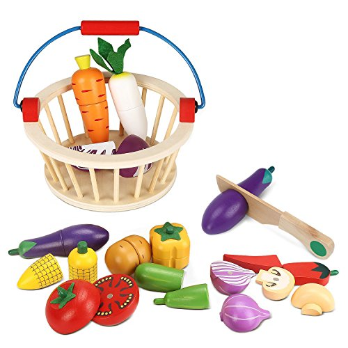 BATTOP Cutting Vegetable Set Basket - Magnetic Wooden Pretend Play Food Kitchen Toys Kids