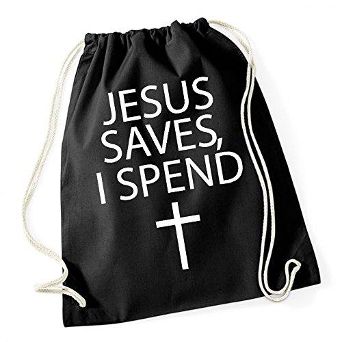 Jesus Saves I Spend Gymsack Black Certified Freak gomyIMz18
