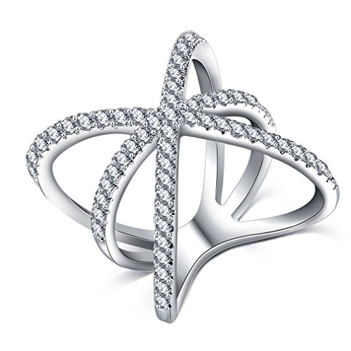 Tacori 18k Cross (FENDINA Women 18K White Gold Plated Anniversary Open Rings Cross X Shaped with Tiny CZ Paved Mid Finger Rings Size 6-10)