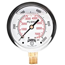 """Winters PFQ Series Stainless Steel 304 Dual Scale Liquid Filled Pressure Gauge with Brass Internals, 0-10000 psi/kpa,2-1/2"""" Dial Display, +/-1.5% Accuracy, 1/4"""" NPT Bottom Mount"""