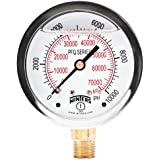 "Winters PFQ Series Stainless Steel 304 Dual Scale Liquid Filled Pressure Gauge with Brass Internals, 0-10000 psi/kpa,2-1/2"" Dial Display, +/-1.5% Accuracy, 1/4"" NPT Bottom Mount"
