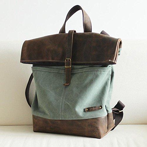 Handcrafted Waxed Canvas Travel Backpack Hiking Rucksack Laptop Backpack by Jellybean Gorilla