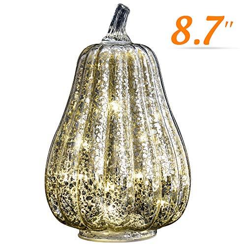 Halloween Pumpkin Lantern Light, JackoLantern Decorative Pumpkins Mercury Glass Decor Fall Decorations led Timer Candles Battery Operated Medium (L-Sliver)