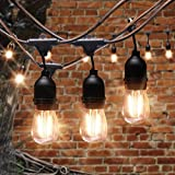 AVAWAY 48Ft LED Outdoor String Lights Waterproof, Commercial Grade Patio Lights/Backyard Lights with 15 x E26 Sockets + 15 2W S14 LED Edison Light Bulb for Garden Party Xmas Porch - UL Listed