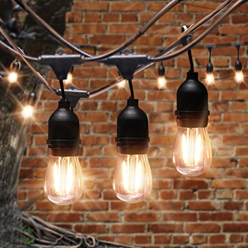 AVAWAY 48Ft LED Outdoor String Lights Waterproof, Commercial Grade Patio Lights/Backyard Lights with 15 x E26 Sockets + 15 2W S14 LED Edison Light Bulb for Garden Party Xmas Porch - UL Listed by AVAWAY