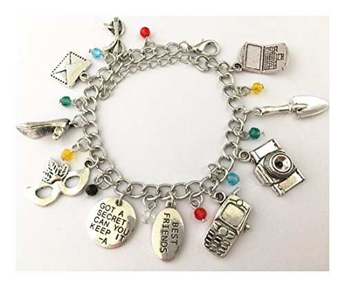 Blue Heron Pretty Little Liars 10 Logo Charms Lobster Clasp Bracelet w/Gift Box