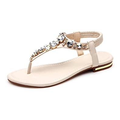 0ad7634f0 Defais Women s Jeweled Summer Thong Sandals Flat Flip Flops Beige 36 5.5  D(M)
