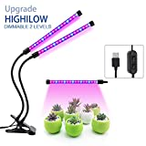 Dual Head LED Plant Grow Light 36LED Chips 2 Dimmable Levels Profession Plant Grow Lamp Bulbs with Adjustable Flexible 360 Degree Gooseneck for Indoor Plants Hydroponic Garden Greenhouse
