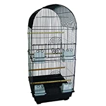 YML A6604 Bar Spacing Tall Round 4 Perches Bird Cage, 14 by 16-Inch, Black