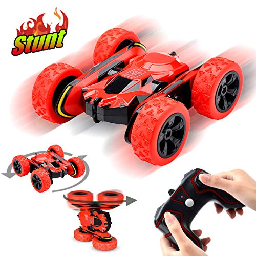 Gifts for 6-12 Boys Girls Pussan Remote Control Car for Kids & Adults, RC Stunt Toy Cars, 1:28 Monster Trucks, RC Truck Off Road 360 Degree Rotation 2.4Ghz RC Crawler Summer Beach Toy Red