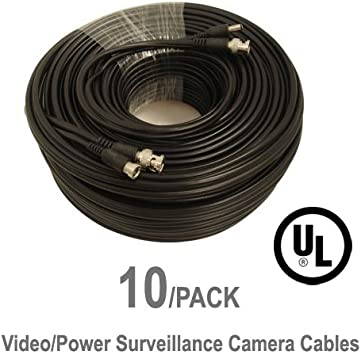 CVI AHD and HD-SDI camera system with BNC connectors and 2.1mm power jack for plug and play connections 10 Pack UL Listed 100 ft Feet Professional Grade RG59 siamese combo cable for TVI