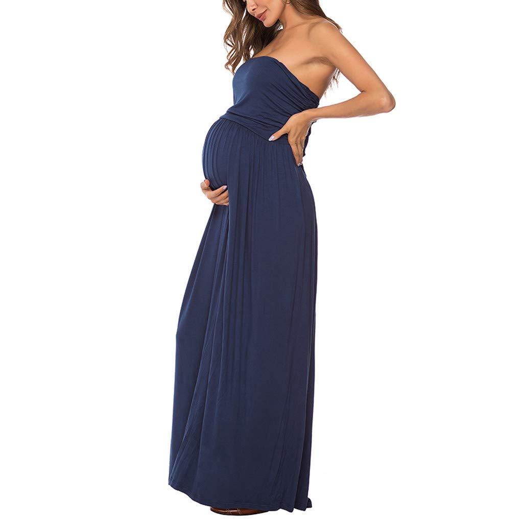 Huifa Stylish Maternity Exquisite Dress Pregnant Sleeveless Off Shoulder Long Dress (Navy,S)