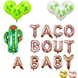 16'' Rose Gold Foil Balloons Taco Bout A Baby Cactus Party Supplies Decorations Fiesta Theme Baby Shower Pregnancy Announcement Letter Balloon