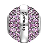 SOUFEEL February Birthstone Charm Dark Purple Swarovski Crystal 925 Sterling Silver Charms Fit European Bracelet