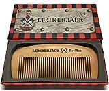 Peigne à cheveux Bûcheron - Bois de poirier - Coffret cadeau - Parfait pour Huiles à barbe et baumes