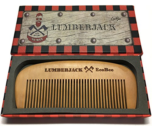 Price comparison product image Hair Comb Lumberjack - Pear wood - Gift box - Perfect for Beard Oils & Balms