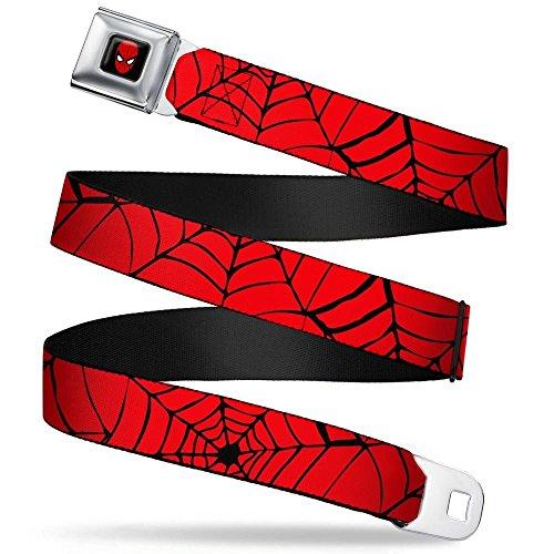 (MARVEL COMICS Spider-Man Full Color Seatbelt Belt - Spiderweb Red/Black Webbing REGULAR)
