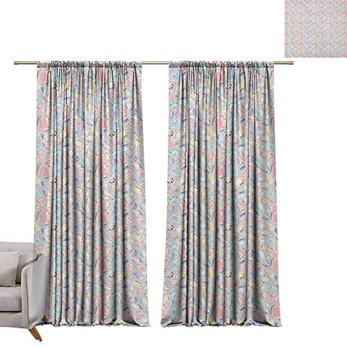 berrly Blackout Window Curtain Panel Diamonds,Pastel Color Baguette Square and Oval Shapes Feminine Design Star Filled Backdrop, Multicolor W84 x L84 Tie Up Shades Rod Blackout Curtains