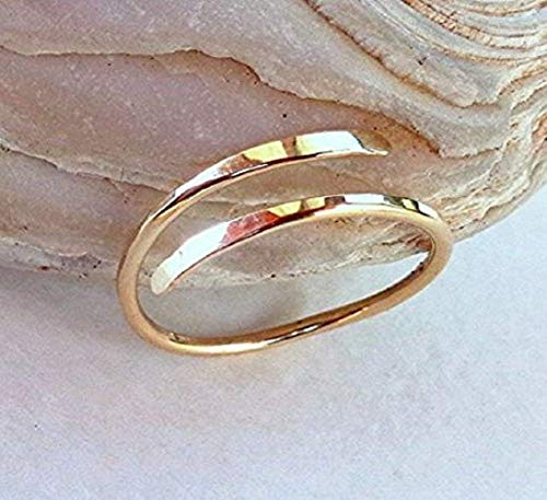 14K Solid Gold Toe-Midi-Knuckle Ring Hammered Adjustable size ()