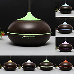 Showpin 300ml Aroma Essential Oil Diffuser Wood Grain Ultrasonic Cool Mist Whisper-Quite Humidifier with 4 Timer sets 14 Color Changing Lights Waterless Auto Shut-off,Christmas Gifts